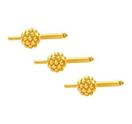 Berry stud setting of 3 pieces in 14K yellow gold