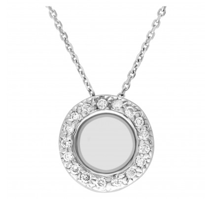 "Diamond circle pendant in 14k white gold on a 16"" long chain. 0.35 carats"