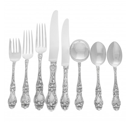 """LILY"" Sterling flatware set ptd in 1910 by Frank M Whiting.  Almost complete 8 Place setting for 12 (Dinner & Lunch) + 5 Serving Pieces -  Over 4200 grams of Sterling Silver"