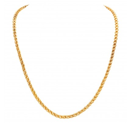 Intricate 14k yellow gold link necklace. Width: 4.8mm. Length: 20 inches.