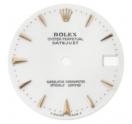 Rolex white dial with golden hour markers