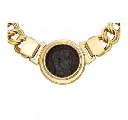Ancient coin necklace on 18k chain
