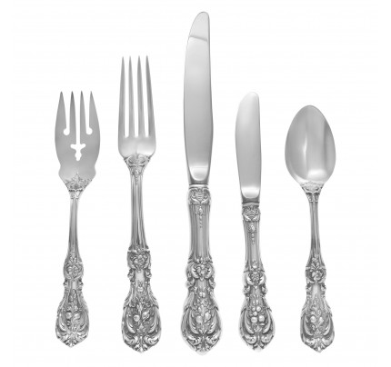 FRANCIS THE FIRST sterling silver flatware set patented in 1987 by Reed & Barton- 4 Place set for 10 (with xtras) and 5 serving pieces.