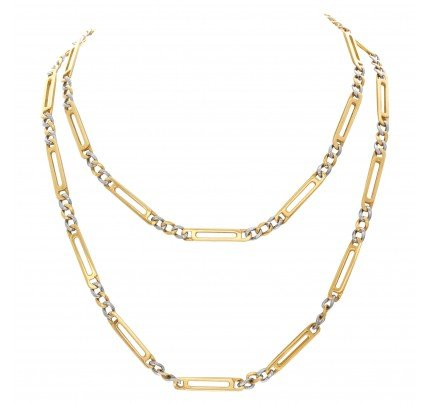 "Unique Figaro link necklace in 18k. 36"" length"