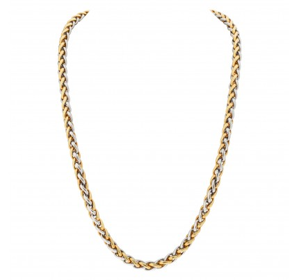 Long chain in 18k white and yellow gold