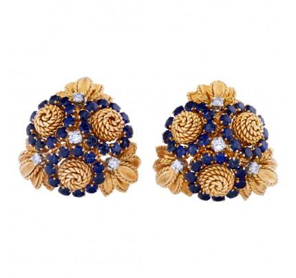 Sapphire and diamond rope flower-like earrings in 18k
