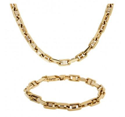 Nautical Link style 14k necklace and bracelet set