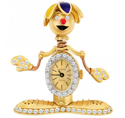 Custom clown pin in 14k gold, Geneve watch body & enamel hat. 2 cts in diamonds.