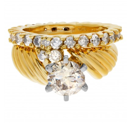 Beautiful Diamond Eternity Band and Ring engagement ring set in 14k and 10k yellow gold. 1.75 carats