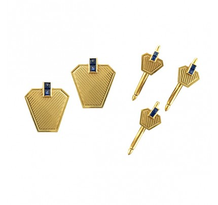 Stylish cufflinks and 3pcs stud set in 14k yellow gold with blue sapphires.