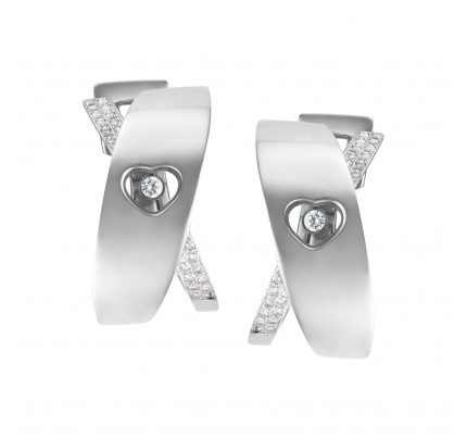 Chopard Happy diamond heart hoop earrings with floating diamond in 18k white gold