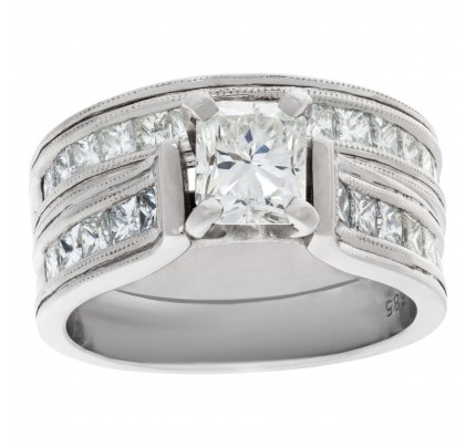 Diamond engagement ring set in 14k white gold. 0.75 ct center diamond (J color, SI1 clarity)