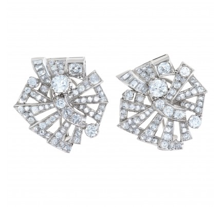 Art Deoo Earrings With Over 5 Cts In Round & Baguette Diamonds Set In Platinum