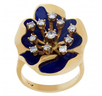 Flower Shape Enamel And Diamond Ring In 14k