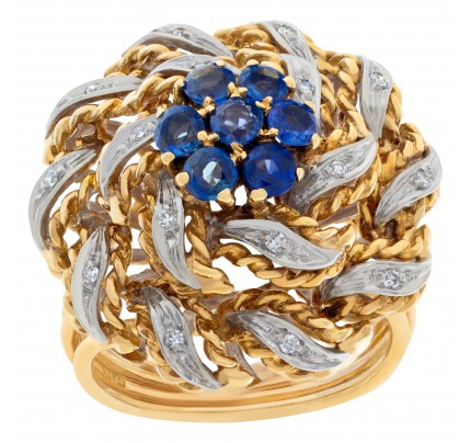 Flower sapphire and diamond ring in twisted 18k white and yellow gold