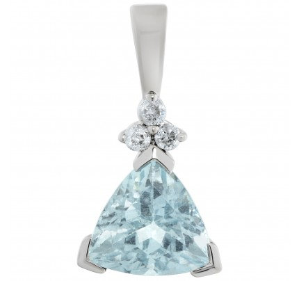 Aquamarine & diamond pendant in 14k white gold