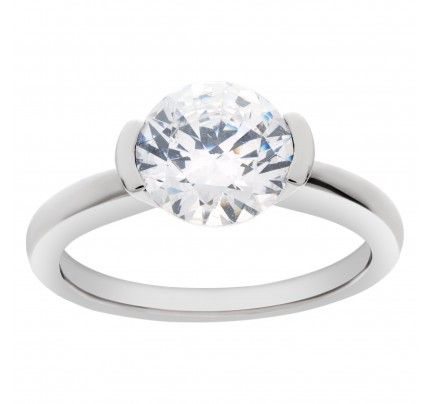 Ritani 18k white gold mounting to hold 2.00ct round center diamond. (Diamond not included)