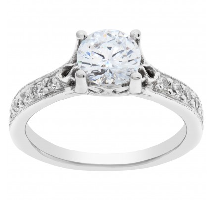 Ritani 18k white gold 0.25 cts total diamond semi mount. Shown with center CZ not a Diamond
