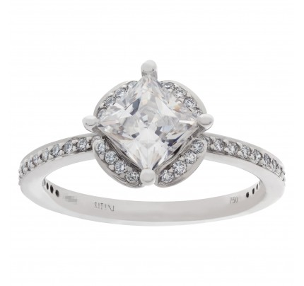 Ritani setting in 18k white gold with 0.35 carats diamonds to hold 1 carat princess cut