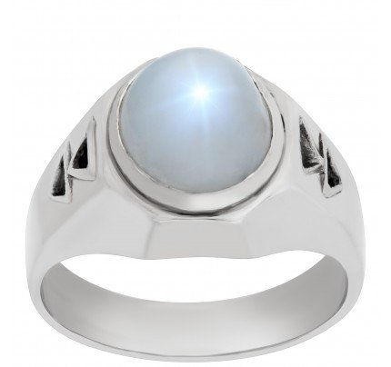 Platinum ring with a center star sapphire approx. 13 carats with 2 diamond accents
