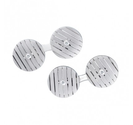 "Round ""striped"" cufflinks in 18k white gold with diamond centers"