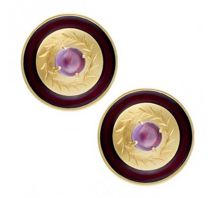 Black enamel circling cabachon amethyst earrings in 14k