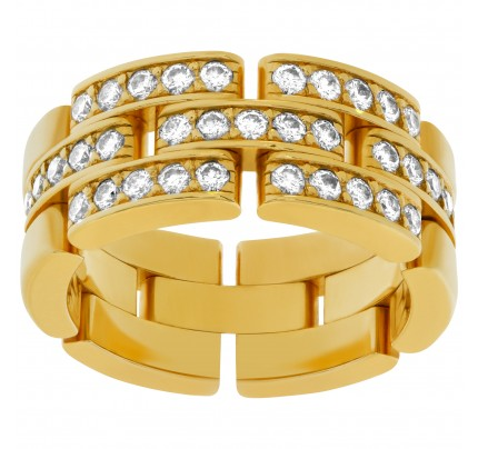 Elegant Cartier Panthere link ring 18k yellow gold with diamonds.