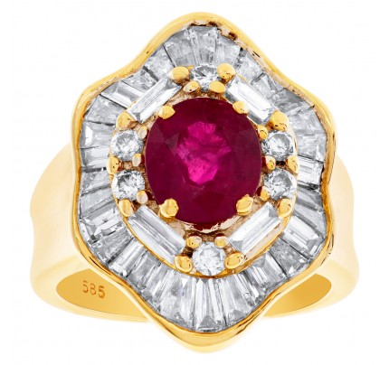 Gorgeous Ruby ring (1.61 cts) with 2.00 cts baguette and round diamonds in 14k