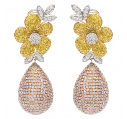 Flower diamond earrings in 18k tri-color gold. 12.35 carats in Diamonds