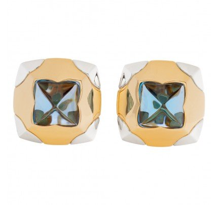Bvlgari earrings in 18k yellow gold with blue topaz