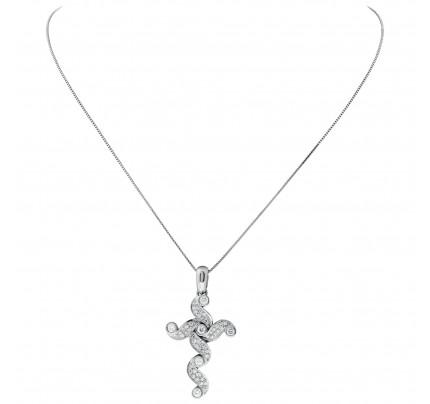 Artistic white diamond cross in 18k white gold. 1.00 carat in white clean diamonds