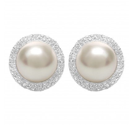 South Sea pearl earrings with (0.46cts) diamond accents. 10.2mm pearl in 18k white gold
