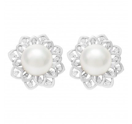Cute and lovely 9mm South sea diamond pearl stud earrings in 18k white gold