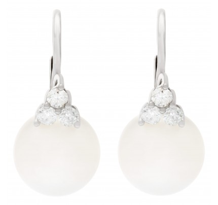 South Sea diamond pearl earrings in 18k white gold. 0.54cts in diamonds
