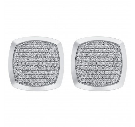 Diamond cufflinks in 18k white gold. 1.48 carats in clean white diamonds