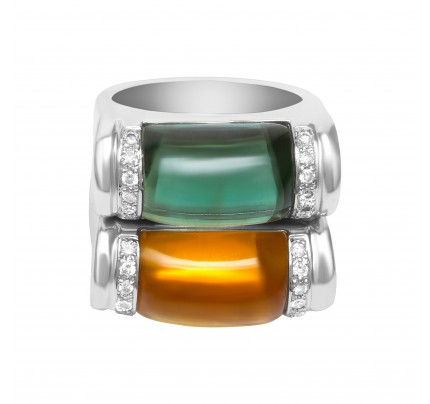 Stackable citrine and tourmaline set of 2 rings with diamond accents in 18k white gold.