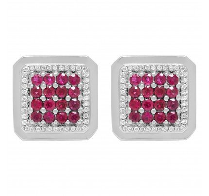 Regal ruby & diamond cufflinks in 18k white gold