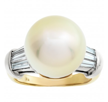 Golden South Sea pearl ring with diamond accents. 3.5mm pearl. Size 7