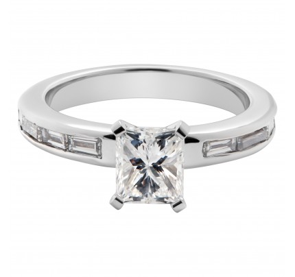 GIA certified cut-cornered rectangular modified brilliant cut diamond ring