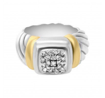 David Yurman ring in 18k yellow gold & Sterling silver with pave diamonds