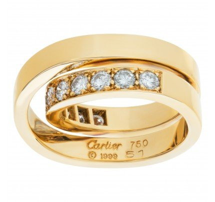 Cartier Nouvelle Vague Crossover diamond ring in 18k. 1.10 carats in diamonds