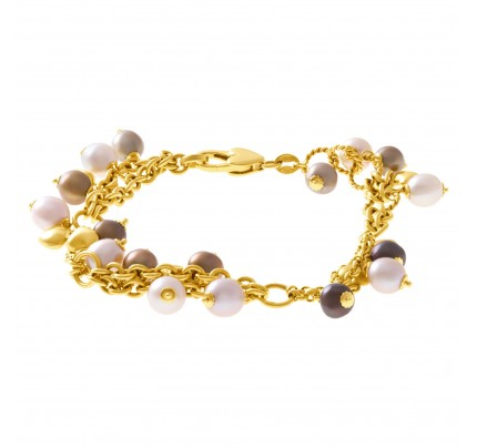 Beautiful pearl bracelet set in 18k yellow gold