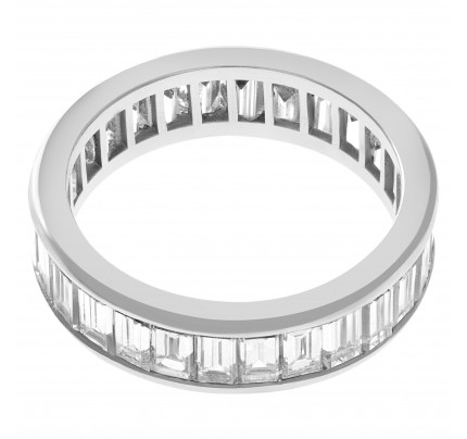 Baguette Diamond Eternity Band and Ring in platinum with approx. 5.50 cts in diamonds
