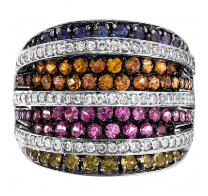 Band of multicolor sapphires and diamonds in 18k white gold