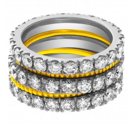 "Diamond Eternity Band and Ring in 18k white gold, & 2 ""perlee"" 18k yellow gold band. 3.0 cts in diamonds."