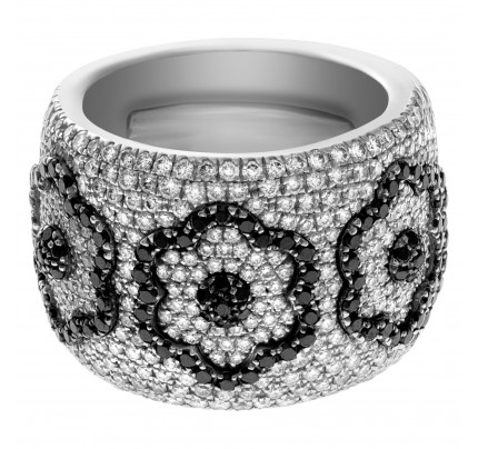 Giorgio Visconti diamond flower ring 1.75 ct in white & black diamonds in 18k white gold
