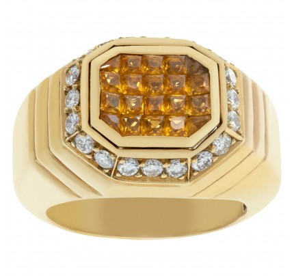 18K Yellow Gold ring with Yellow Sapphire and Diamonds accent. Size 6