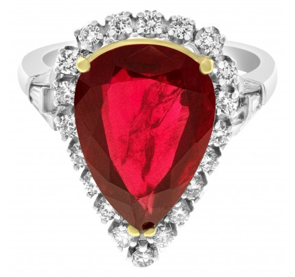 Princess ring 7.07 cts unheated ruby with diamond accents