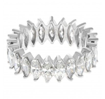 Marquise cut diamond eternity band and ring in platinum. 5cts (G-H color, VS2-SI1 clarity)