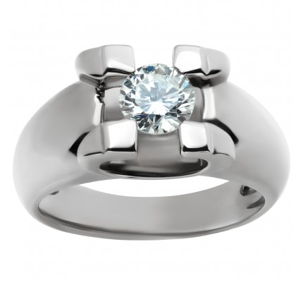18k white gold diamond ring. 0.75 carat round diamond. (H color, VS2 clarity)